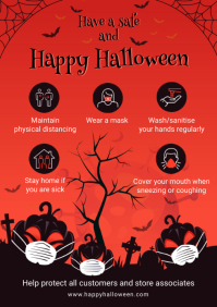 Red Halloween Shopping Guide Covid-19 A4 template