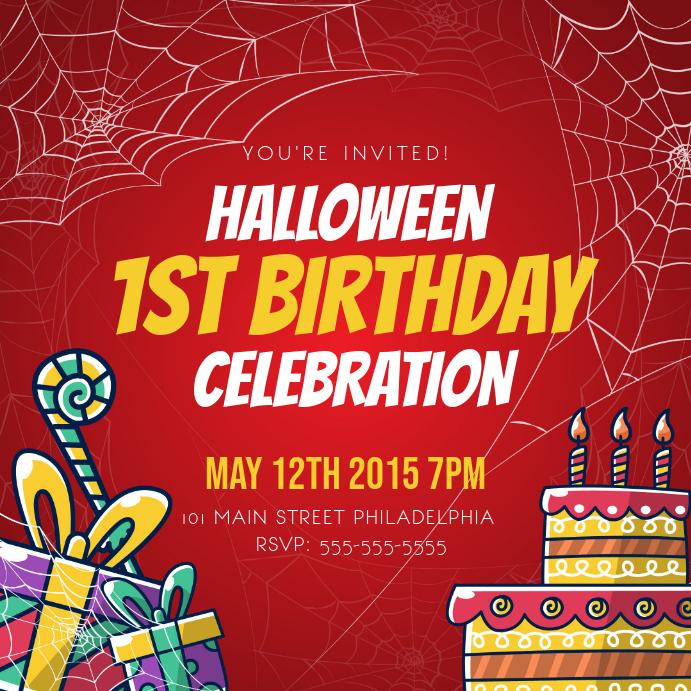 Red Halloween themed Birthday Invitation Instagram Image Instagram-opslag template