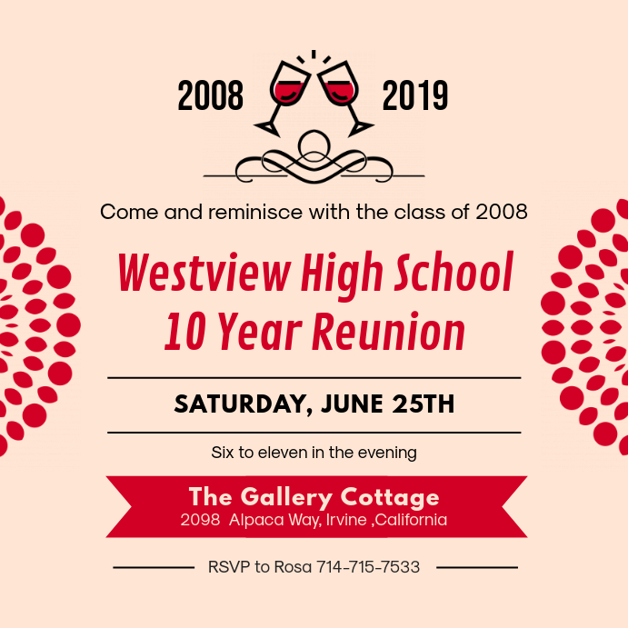 Red High School Reunion Invitation Instagram 帖子 template