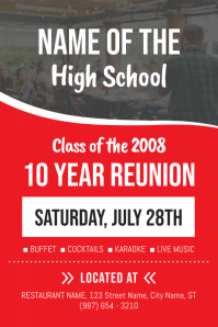 Red High school Reunion Poster Template