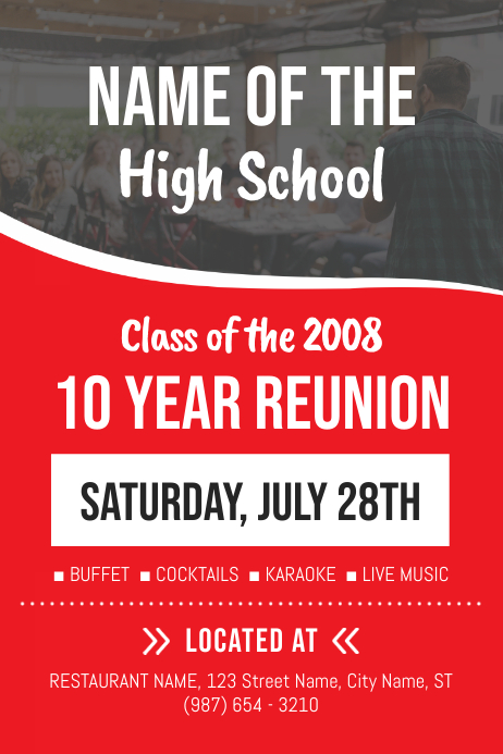 Red High school Reunion Poster Template 海报