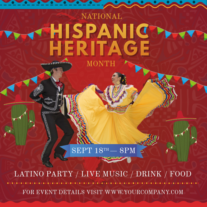 Red Hispanic Heritage Festival Instagram Image