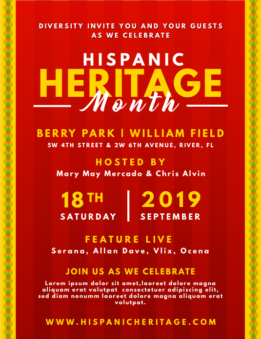 Red Hispanic Heritage Month Invite Flyer