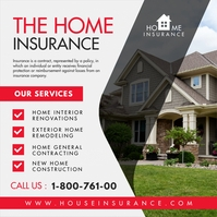 Red Home Insurance Instagram Post Template