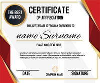 Red Horizontal Certificate Template Medium Rectangle