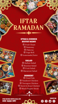 Red Iftar Menu Digital Display Template