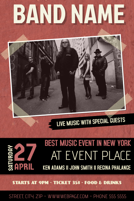 Copy of red indie band concert event flyer template with ...