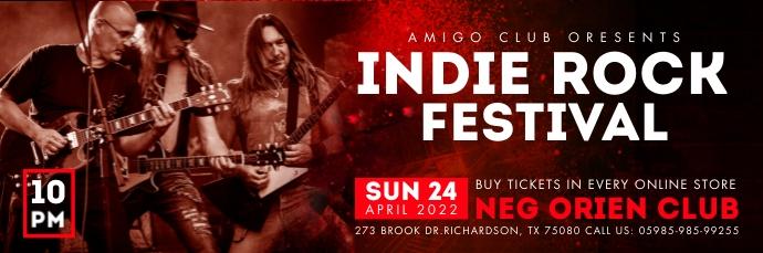 Red Indie Rock Festival Email Header Template 电子邮件标题