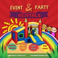 Red Kids Bouncy Castle for Hire Event Instagr โพสต์บน Instagram template