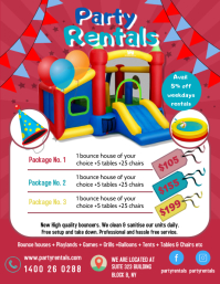 Red Kids Bouncy Castle for Rent Flyer Templat Pamflet (Letter AS) template