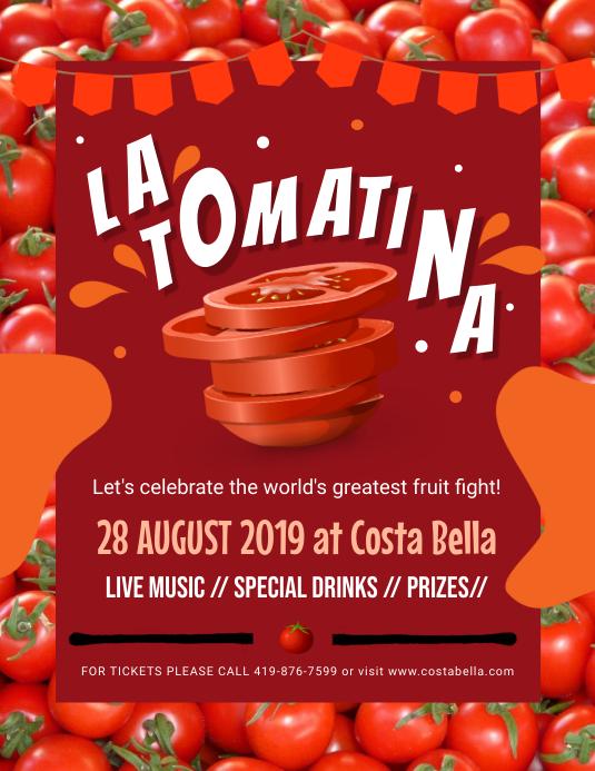 Red La Tomatina Flyer Design Løbeseddel (US Letter) template