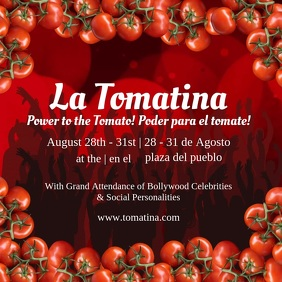Red La Tomatina Square Video template