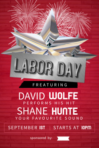 Red Labor Day Music Event Poster