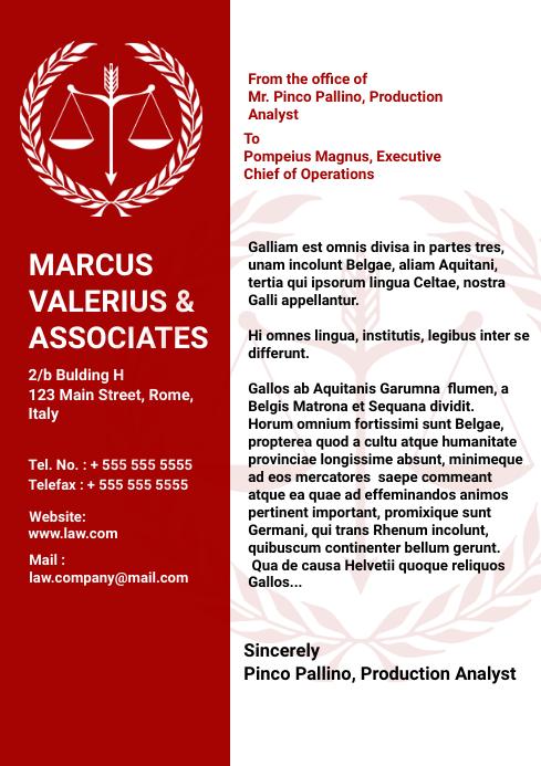 Red Law and attorney letterhead design templa