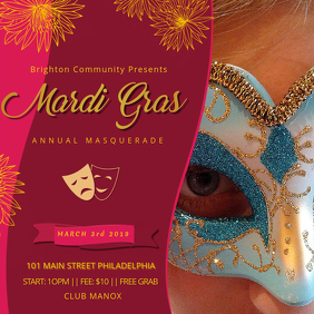 Red Mardi Gras Party Invitation