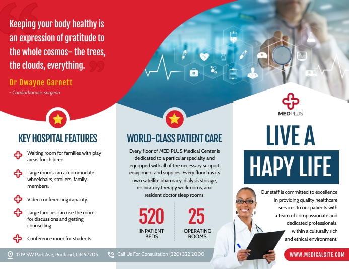 Red Medical Trifold Brochure Pamflet (Letter AS) template