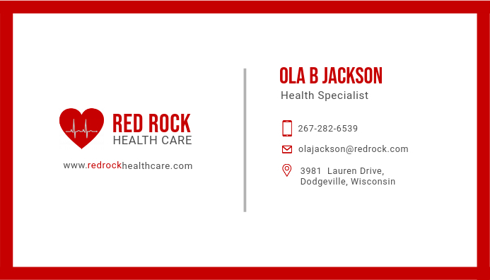 red medicial doctor business card design - Doctor Business Card