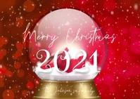 Red Merry Christmas Snowglobe Family Video Postkort template