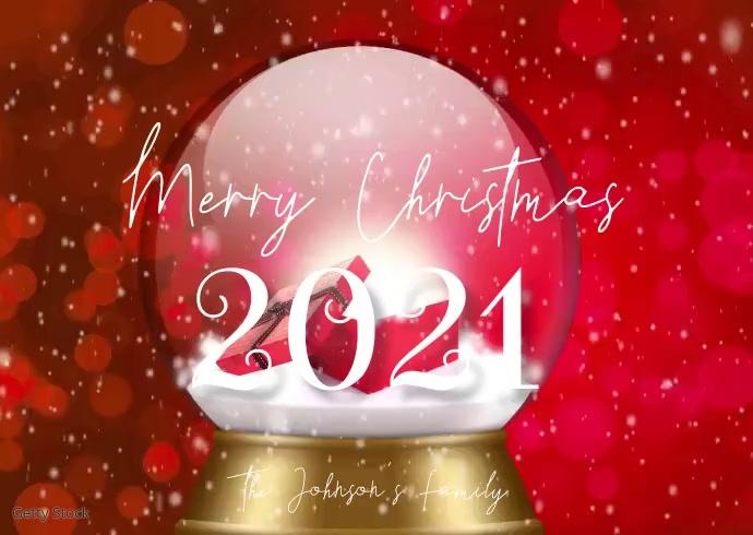 Red Merry Christmas Snowglobe Family Video Kartu Pos template