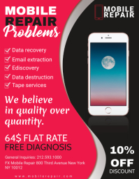 Red Mobile and PC Repair Flyer Free Template