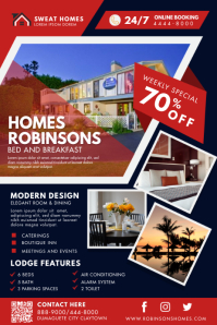 Red Modern Bed and Breakfast Poster