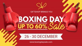 Red Modern Boxing Day Sale Digital Banner template