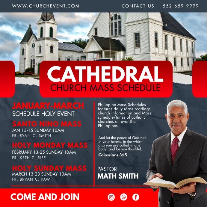 Red Modern Church Mass Schedule Instagram Pos template