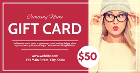 red modern gift card voucher Facebook Shared Image template