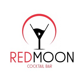 Red moon cocktail bar logo Logotipo template