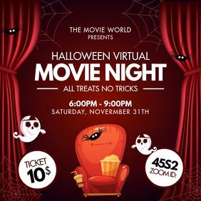 Red Movie Night Invite Halloween