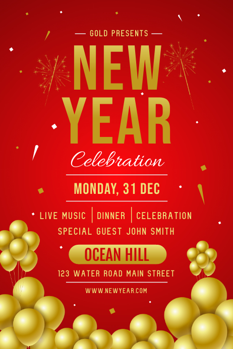 Red New Year's Eve Poster