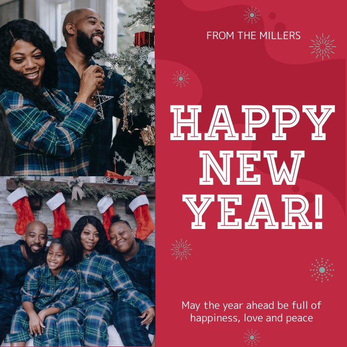 red new year greeting card online design customize template