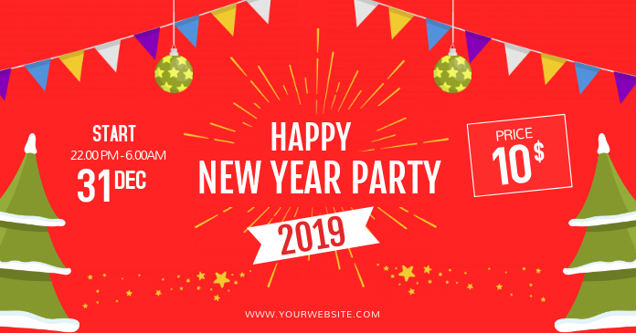 Red New Year Party Ticket Template