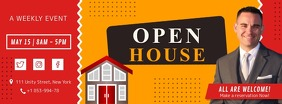 Red Open House Invite Facebook Cover template