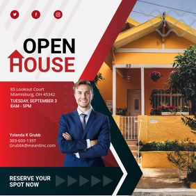 Red Open House Online Square Ad Instagram Post template