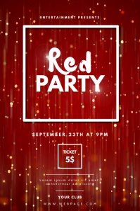 Red Party Flyer Design Template Poster