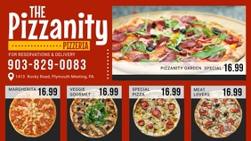 Red Pizza Menu Board Video Digital Display (16:9) template