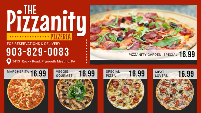 Red Pizza Menu Board Video Digitalt display (16:9) template