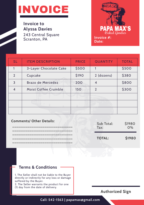 Red Pizza Parlor Invoice Quotation A4 Templat template