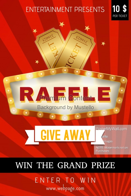 red raffle poster template postermywall. Black Bedroom Furniture Sets. Home Design Ideas
