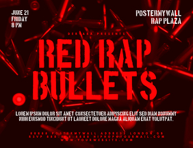Red Rap Bullet Event Landscape Flyer Template