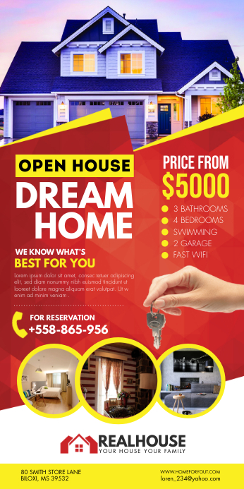 Red Realtor Open House Banner template