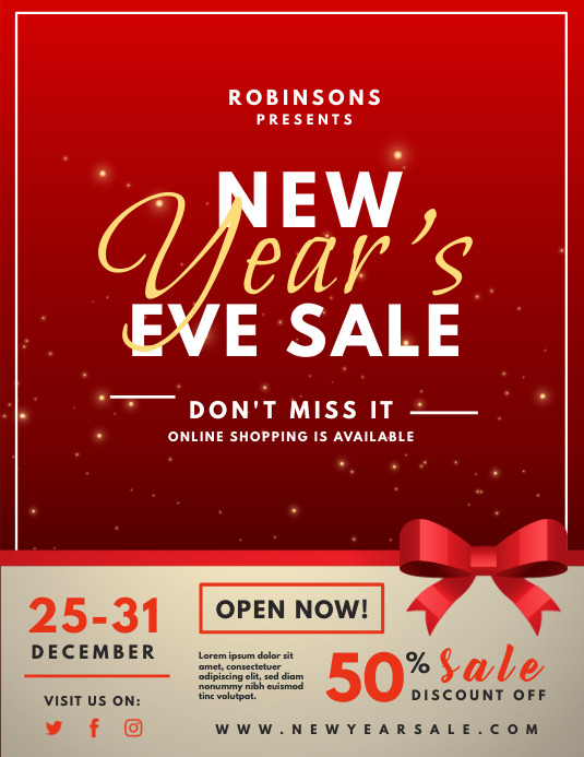 Red Ribbons New Year's Eve Sale Flyer