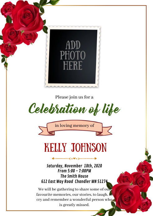 Red rose Funeral Memorial invitation A6 template