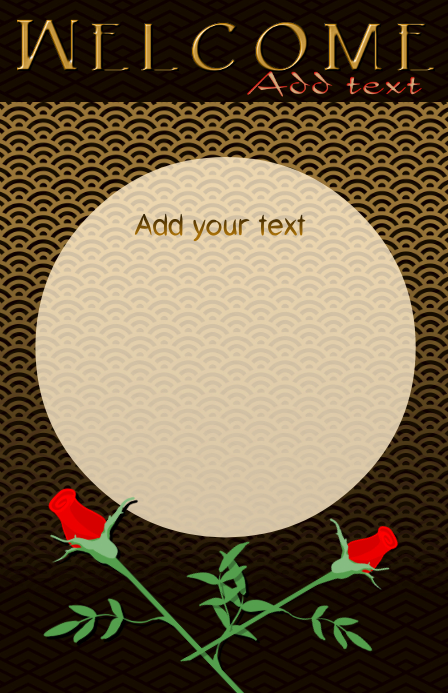 red rose - red roses - flower and golden japanese pattern - wedding template tabloid size