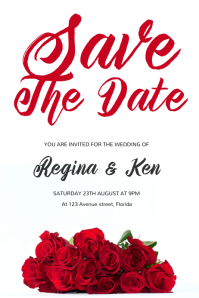 Red Rose Save the Date Flyer Template