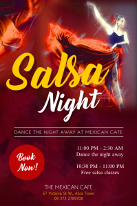 Red Salsa Night Dance Poster