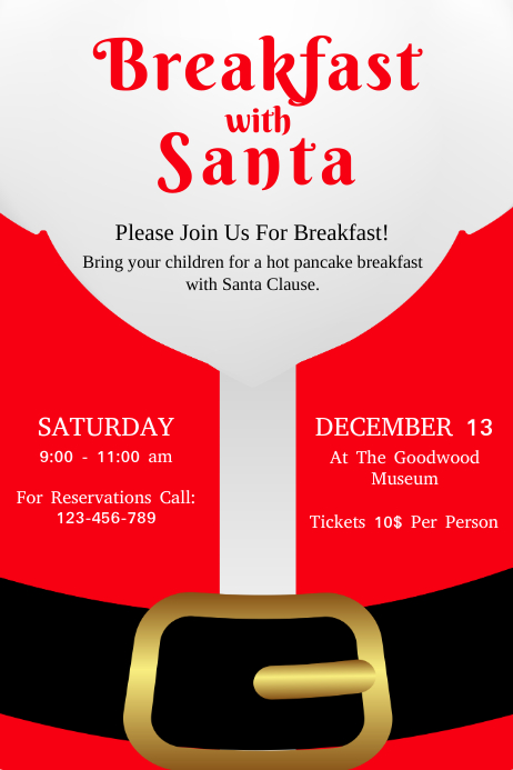 Red Santa Breakfast Poster Template
