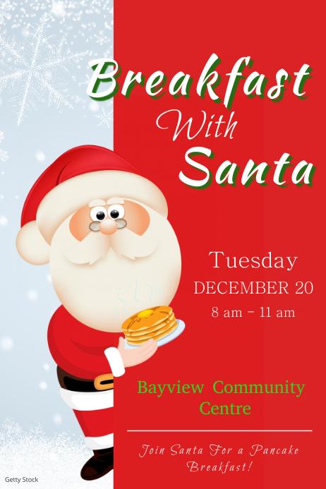 Red Santa Breakfast Poster Template
