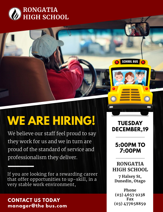 Red School College Bus Driver Hiring Flyer Te ใบปลิว (US Letter) template
